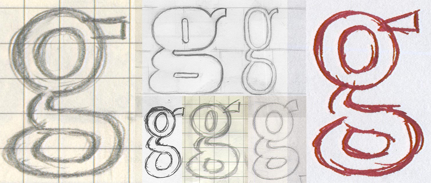 Lots of sketches of the letter g.